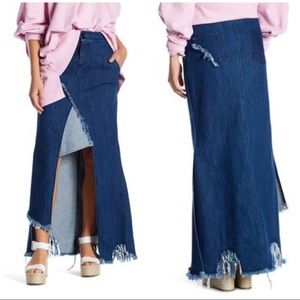TOV Holy Denim Maxi Asymmetrical Skirt Size 42